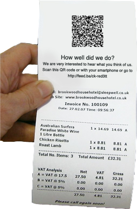 Olery Feedback QR code on receipt